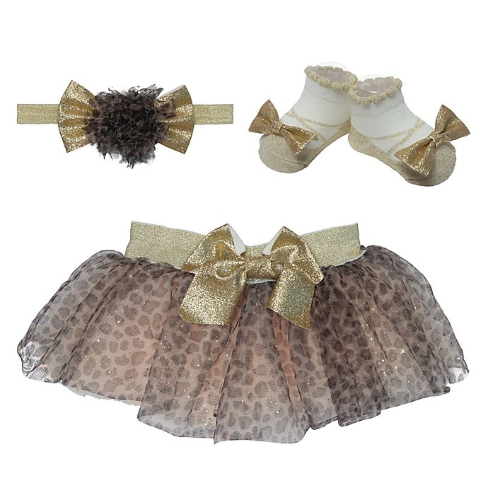 Alternate image 1 for Elly & Emmy Size 0-12M 2-Piece Leopard Tutu and Headwrap Set