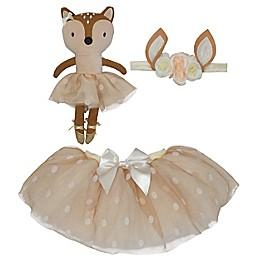 Elly & Emmy Size 0-12M 3-Piece Deer Tutu, Headwrap, and Dolly Set