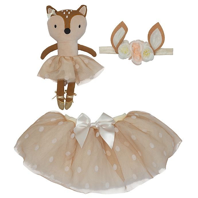 Alternate image 1 for Elly & Emmy Size 0-12M 3-Piece Deer Tutu, Headwrap, and Dolly Set