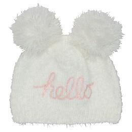 """So' Dorable """"Hello"""" Pom Pom Hat in White"""