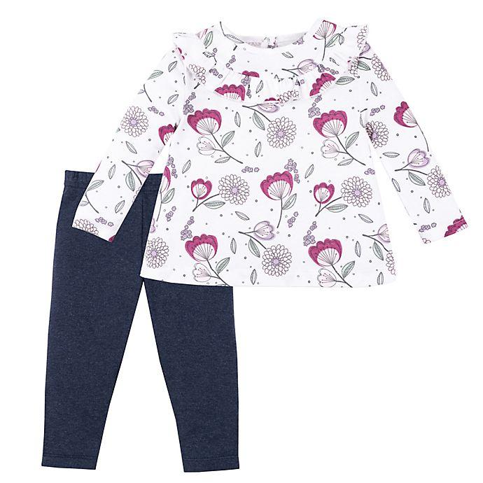 Alternate image 1 for Lamaze® 2-Piece Floral Organic Cotton Top and Denim Pant Set