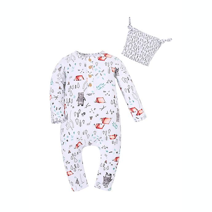Alternate image 1 for Kidding Around 2-Piece Woodland Romper and Beanie Set in White