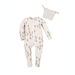 Kidding Around 2-Piece Air Balloon Footie and Beanie Set in Oatmeal