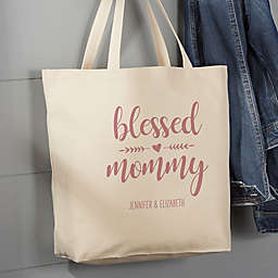 Blessed Mama 20-Inch x 15-Inch Canvas Tote Bag in Tan