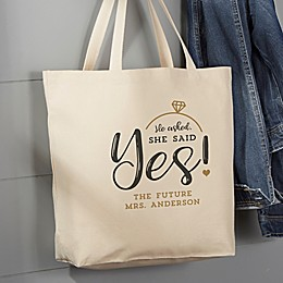 He Asked, She Said Yes! 20-Inch x 15-Inch Canvas Tote Bag in Tan