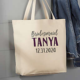 Bridesmaid On The Go 20-Inch x 15-Inch Canvas Tote Bag in Tan