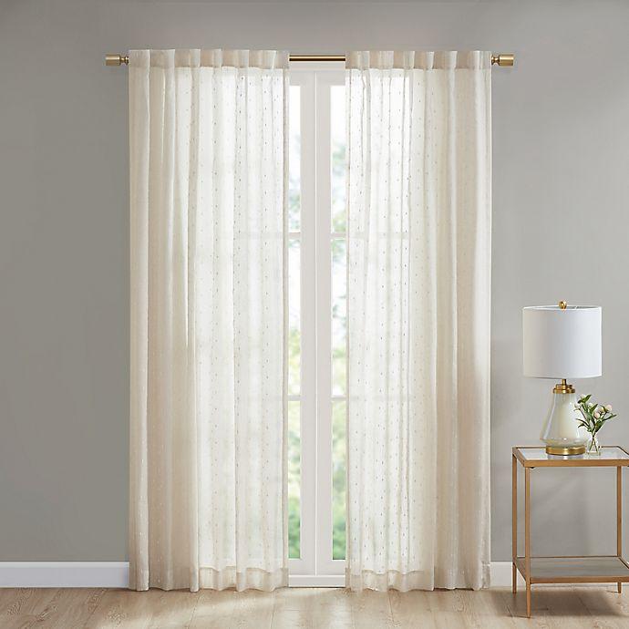 Alternate image 1 for Deandra Striped Rod Pocket/Back Tab Sheer Window Curtain Panel