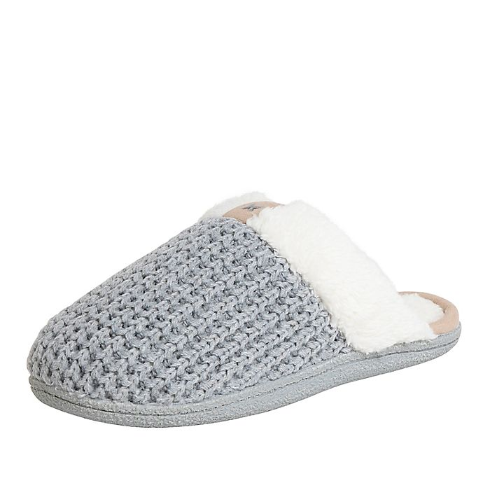 Alternate image 1 for Women's Faux Fur Knitted Scuff Slippers in Grey