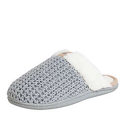 Women's Faux Fur Knitted Scuff Slippers in Grey