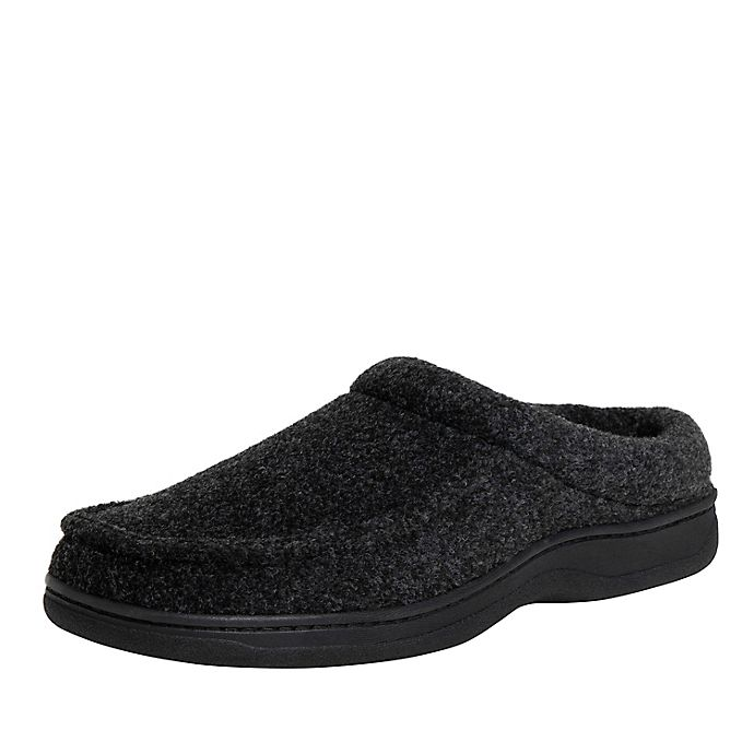 Alternate image 1 for Men's Faux Wool Clog Slippers in Black