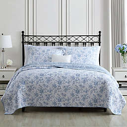 Laura Ashley® Walled Garden  Reversible Quilt Set in Skydust Blue