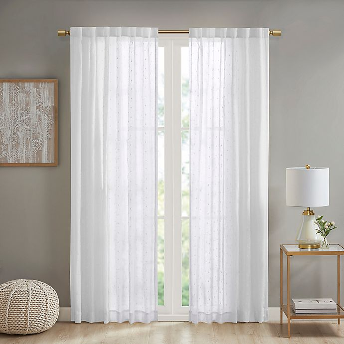 Alternate image 1 for Deandra Striped 84-Inch Rod Pocket/Back Tab Sheer Window Curtain Panel in White