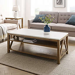 Forest Gate™ 48-Inch Coffee Table in White Marble/Walnut