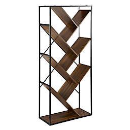 "Forest Gate 68"" Modern Angled Bookshelf in Dark Walnut"