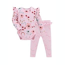 Kidding Around 2-Piece Rainbow Floral Bodysuit and Pant Set