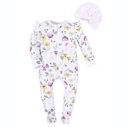 Kidding Around Size 3M 2-Piece Floral Footie and Bow Beanie Set