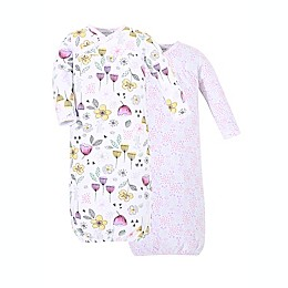 Kidding Around Size 0-3M 2-Pack Floral Nightgowns in White/Pink