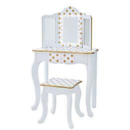 Teamson Kids Polka Dot Prints Gisele Play Vanity Set with LED Mirror
