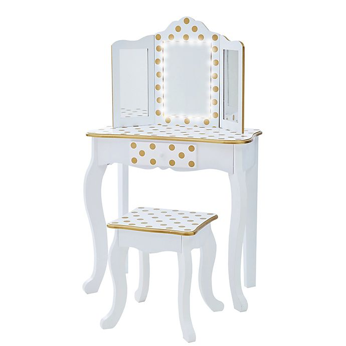 Alternate image 1 for Fantasy Fields by Teamson Kids Polka Dot Prints Gisele Play Vanity Set with LED Mirror