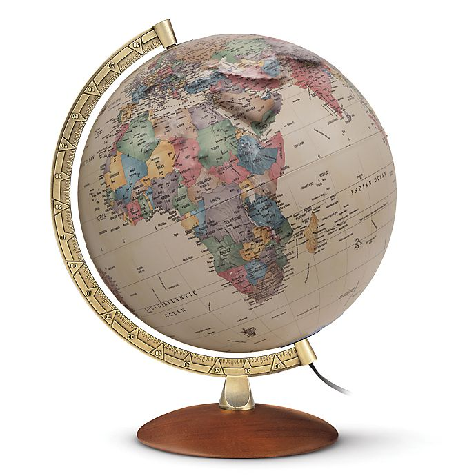 Alternate image 1 for Athens 12-Inch Raised Relief Illuminated Desk Globe in Gold