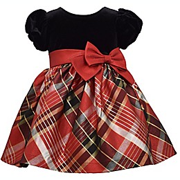 Bonnie Baby Plaid Dress with Diaper Cover in Red