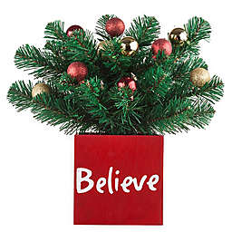 """13-Inch """"Believe"""" Classic Greenery LED-Lit Christmas Centerpiece in Red/Gold/Green"""