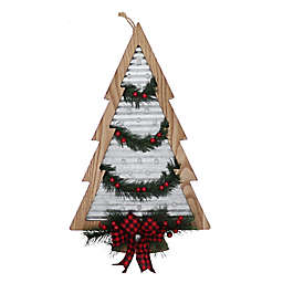 20.16-Inch Galvanized LED Lit Christmas Tree Wall Decoration with Garland