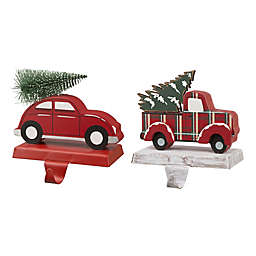 Glitzhome® Red Car & Truck Christmas Stocking Holders (Set of 2)