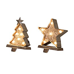 Glitzhome® LED Christmas Tree & Star Stocking Holders in Gold (Set of 2)