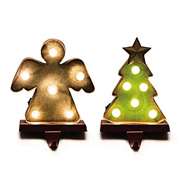 Glitzhome® Marquee LED Angel & Tree Stocking Holders in Green/Gold (Set of 2)