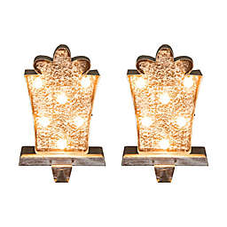 Glitzhome® Gift Box Marquee LED Stocking Holders (Set of 2)