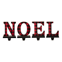 """Glitzhome® 7-Inch """"NOEL"""" Stocking Holders in Red (Set of 4)"""