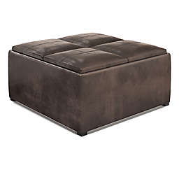 Simpli Home Avalon Faux Leather Square Coffee Table Storage Ottoman in Distressed Brown