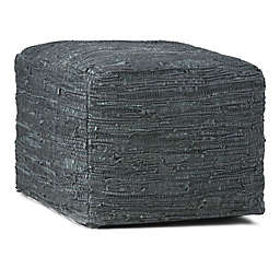 Fredrik Square Woven Leather Pouf in Grey