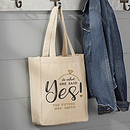 """""""He Asked, She Said Yes!"""" Canvas Tote Bag"""