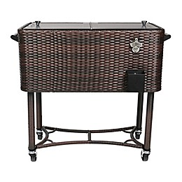 Permasteel Wicker 80-Quart Patio Cooler in Black/Brown