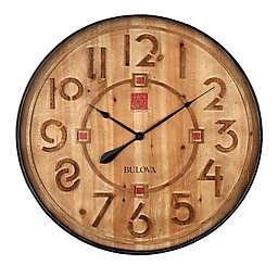 Bulova Taliesin 31.5-Inch Round Wall Clock in Brown