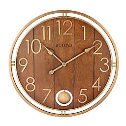 Bulova Panel Time 30-Inch Round Wall Clock in Brown