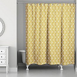 Designs Direct 71-Inch x 74-Inch Diamond Zig Zag Shower Curtain in Yellow