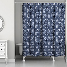 Designs Direct 71-Inch x 74-Inch Mudcloth Shower Curtain in Navy/White
