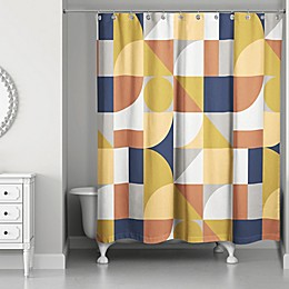 Designs Direct 71-Inch x 74-Inch Geometric Shower Curtain in Yellow