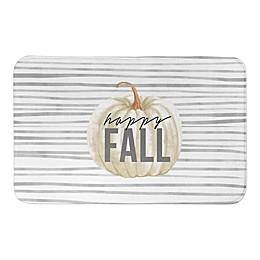 Happy Fall Gray Stripes Pattern Bath Mat