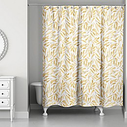 Designs Direct 71-Inch x 74-Inch Watercolor Leaves Shower Curtain in Gold