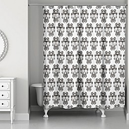 Designs Direct 71-Inch x 74-Inch Sugar Skull Shower Curtain in Black/White