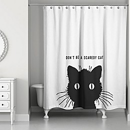 Designs Direct 71-Inch x 74-Inch Vintage Black Cat Shower Curtain in Black/White