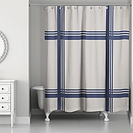 Designs Direct 71-Inch x 74-Inch Crossing Stripes Shower Curtain in Blue/White