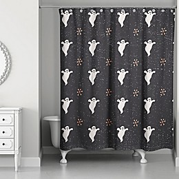 Designs Direct 71-Inch x 74-Inch Retro Ghost Shower Curtain in Black