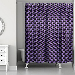 Designs Direct 71-Inch x 74-Inch Skull and Crossbones Shower Curtain in Purple