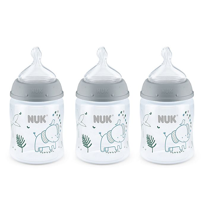 Alternate image 1 for NUK® Smooth Flow™ Elephants 3-Pack 5 oz. Anti-Colic Bottle in Grey