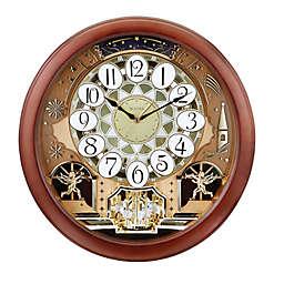 Bulova Dancing Dial 17-Inch Round Wall Clock in Warm Brown Cherry